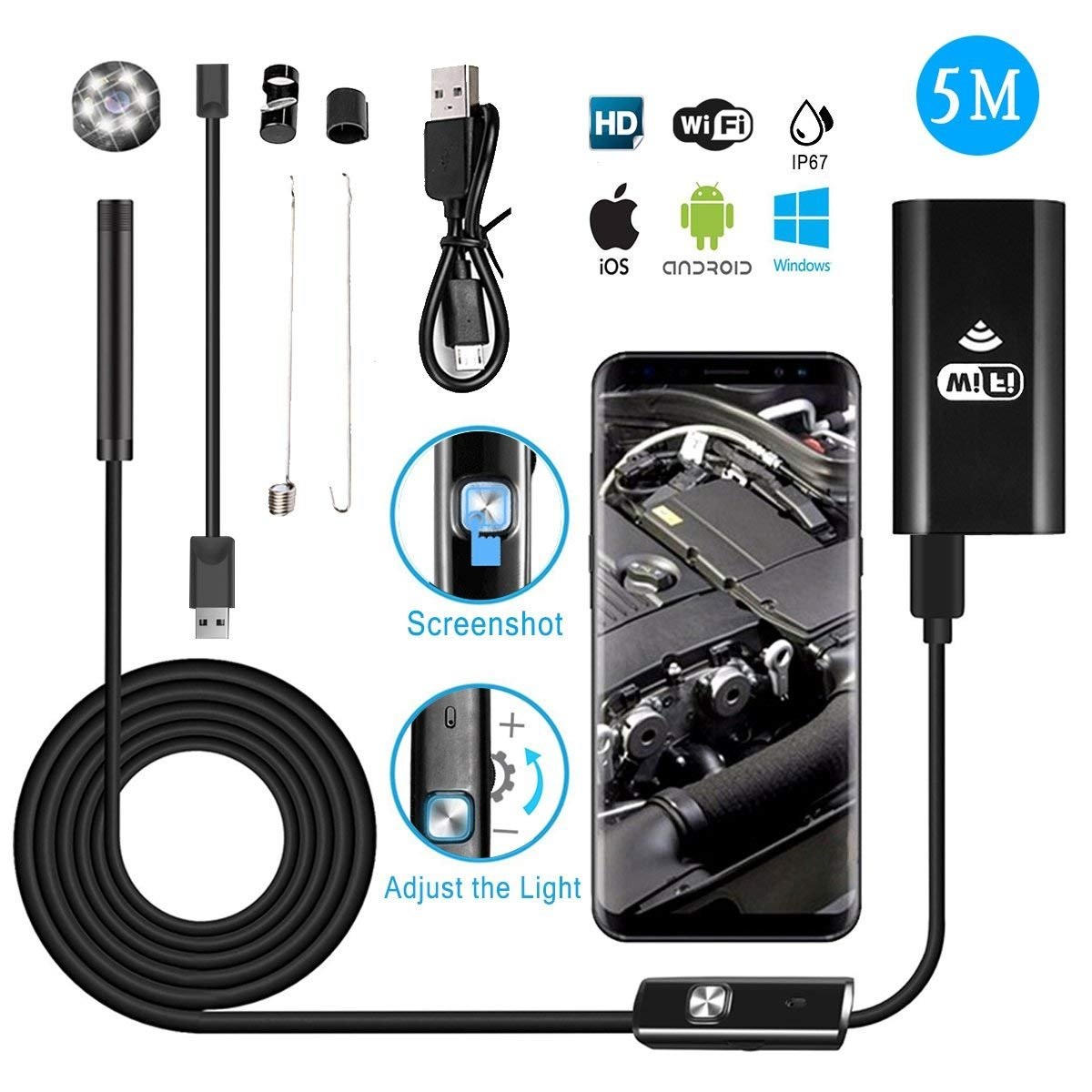 iPad Android PC MASO 5M WiFi Borescope Inspection Camera 8mm Lens Borescope Wireless Endoscope 2.0 Megapixels 720P HD IP67 Waterproof with 6 LED Light for iPhone