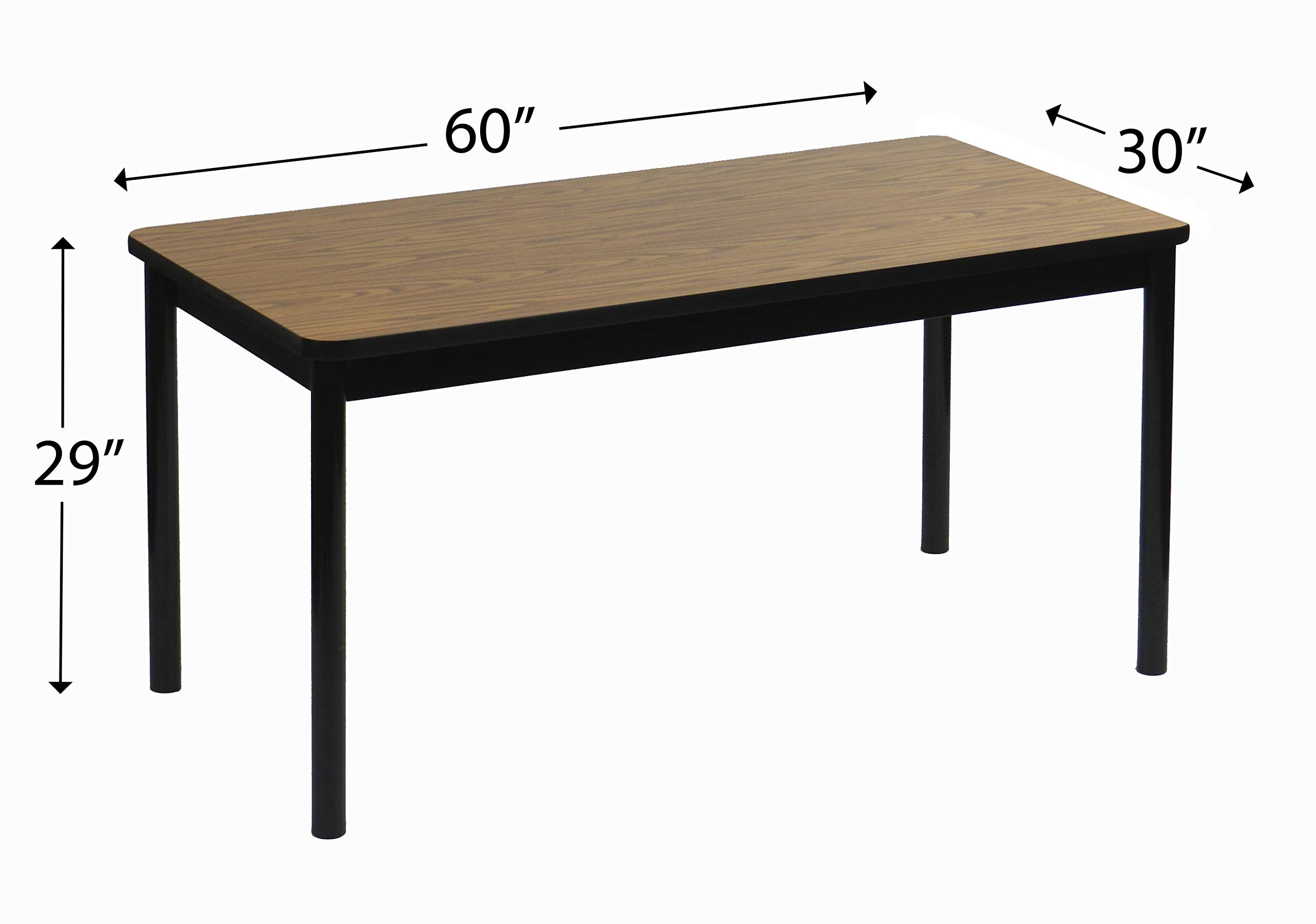 Correll 30''x60'' Office & Utility Work Table, Rock Solid Commercial Quality, Medium Oak High-Pressure Laminate, Black Frame (LR3060-06) by Correll (Image #3)