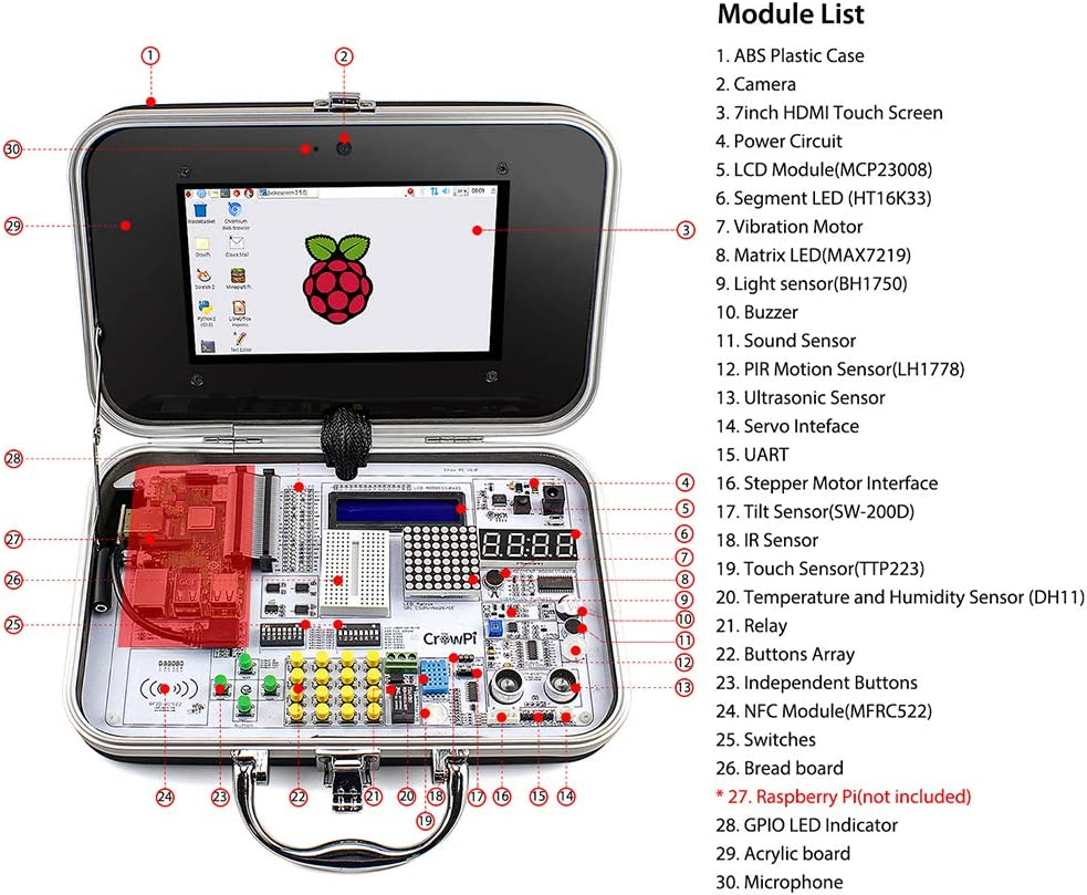 Basic Kit, RPI Not Included, Black Kit for Learning Coding ELECROW CrowPi Raspberry Pi 4 3b 3b