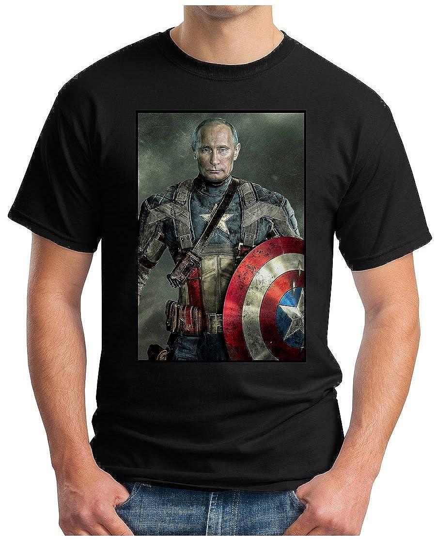 ca159dd8b OM3 - Putin Captain America - T-Shirt Russland USA Cold WAR MIG MIR Mafia  DOPE Fun Parody Geek, S - 5XL: Amazon.co.uk: Clothing