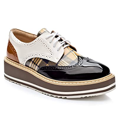 Cetula Handcrafted Lace-up Houndstooth Vamp Brogue Four Seasons Women Oxford Shoes | Oxfords