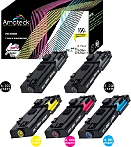 Amateck Compatible Dell C2660dn C2665dnf 5 Pack Toner Cartridge Black 593-BBBU, Cyan 593-BBBT, Magenta 593-BBBS, Yellow 593-BBBR