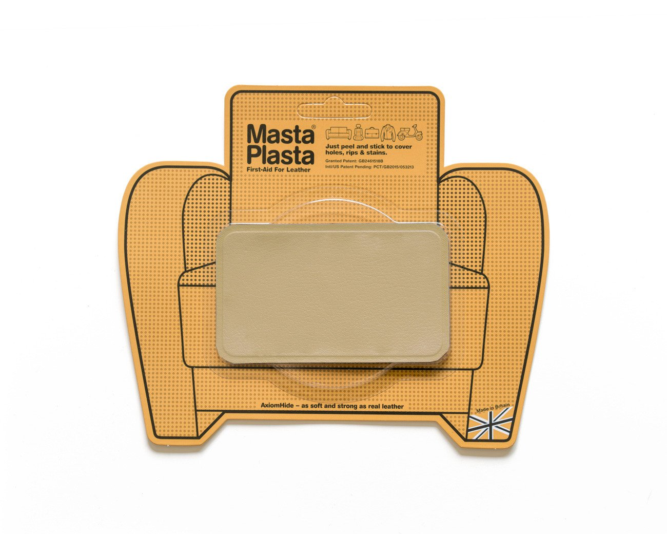 Beige MastaPlasta Self-Adhesive Leather Repair Patches. Choose size/design. First-aid for sofas, car seats, handbags, jackets etc. (BEIGE SUPER-PLAIN 10cmx6cm) MastaPlasta Ltd