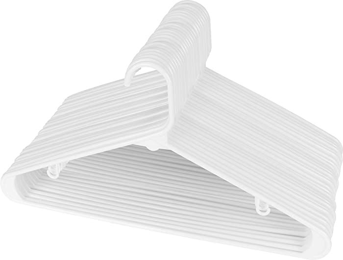 Utopia Home White Plastic Standard Hangers for Clothes (30-Pack) Tubular Hangers - Durable and Slim