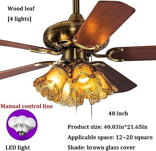 Wxl Ventilador de Techo, luz LED, Retro Ventilador de Techo de ...