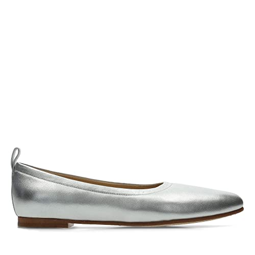 a675863158e Clarks Grace Mia Leather Shoes in Silver Standard Fit Size 5  Amazon ...