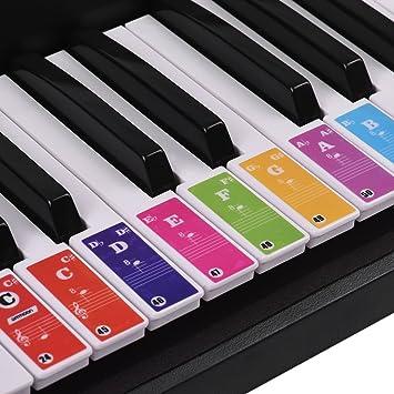 ammoon Pegatinas para Pianos Etiquetas Engomadas del Teclado de Piano para Teclados (Color Blanco)