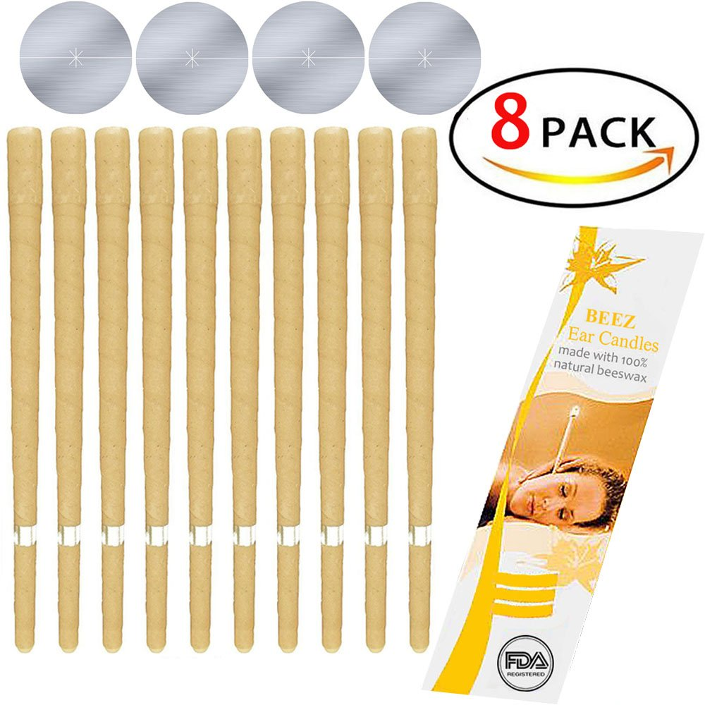 8 Pcs Beeswax Candling Cones Ear Wax Candle Removal Kit 4 Protective Disks Included