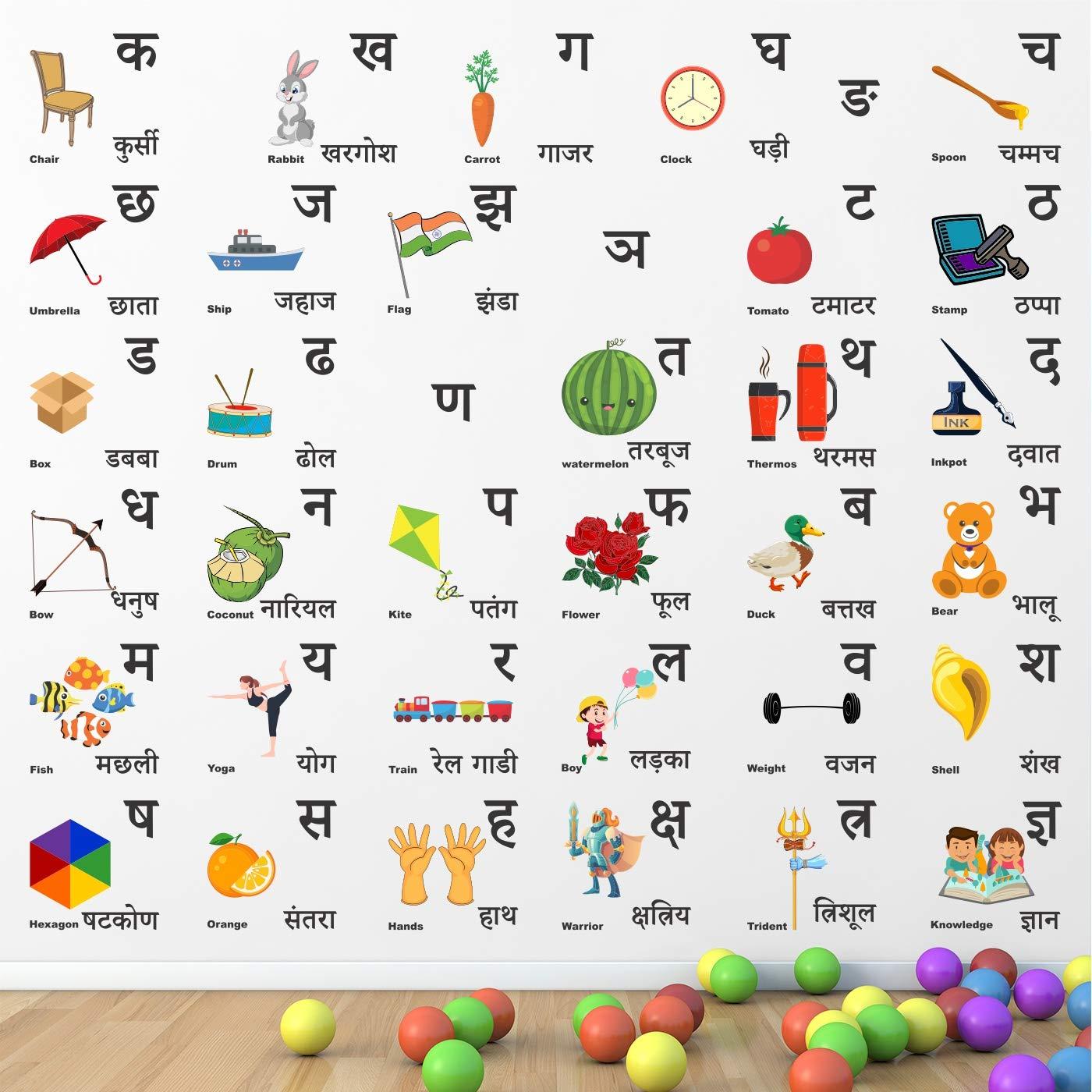 kids learning chart hindi alphabet