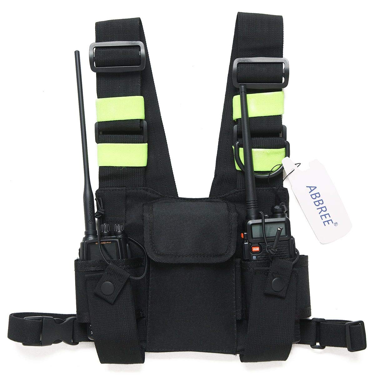 Abbree Front Pack Pouch Holster Vest Rig Chest Bag Carry Case for Baofeng Two Way Radio UV-5R BF-F8HP UV-82 TYT Motorola Midland (Bright Green)