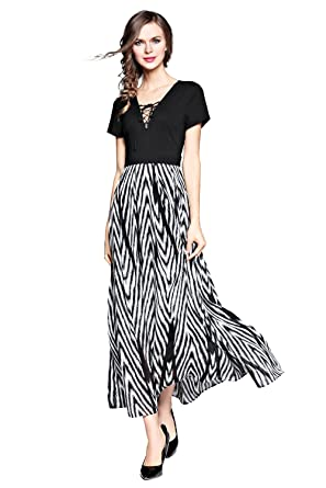 dec04c04d0 Image Unavailable. Image not available for. Color: Joy EnvyLand Women Boho  Office Work Striped Casual Summer Beach Maxi Dress