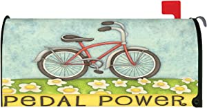 Toland Home Garden Pedal Power Spring Flower Bicycle Magnetic Mailbox Cover