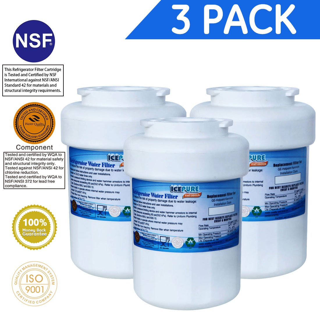 Amazon icepure rwf0600a compatible with ge mwfmwfpmwf3pk amazon icepure rwf0600a compatible with ge mwfmwfpmwf3pkmwfamwfapmwfintgwfgwf01gwf06gwfahwfhwfafmg 1 refrigerator water filter 3pack home biocorpaavc