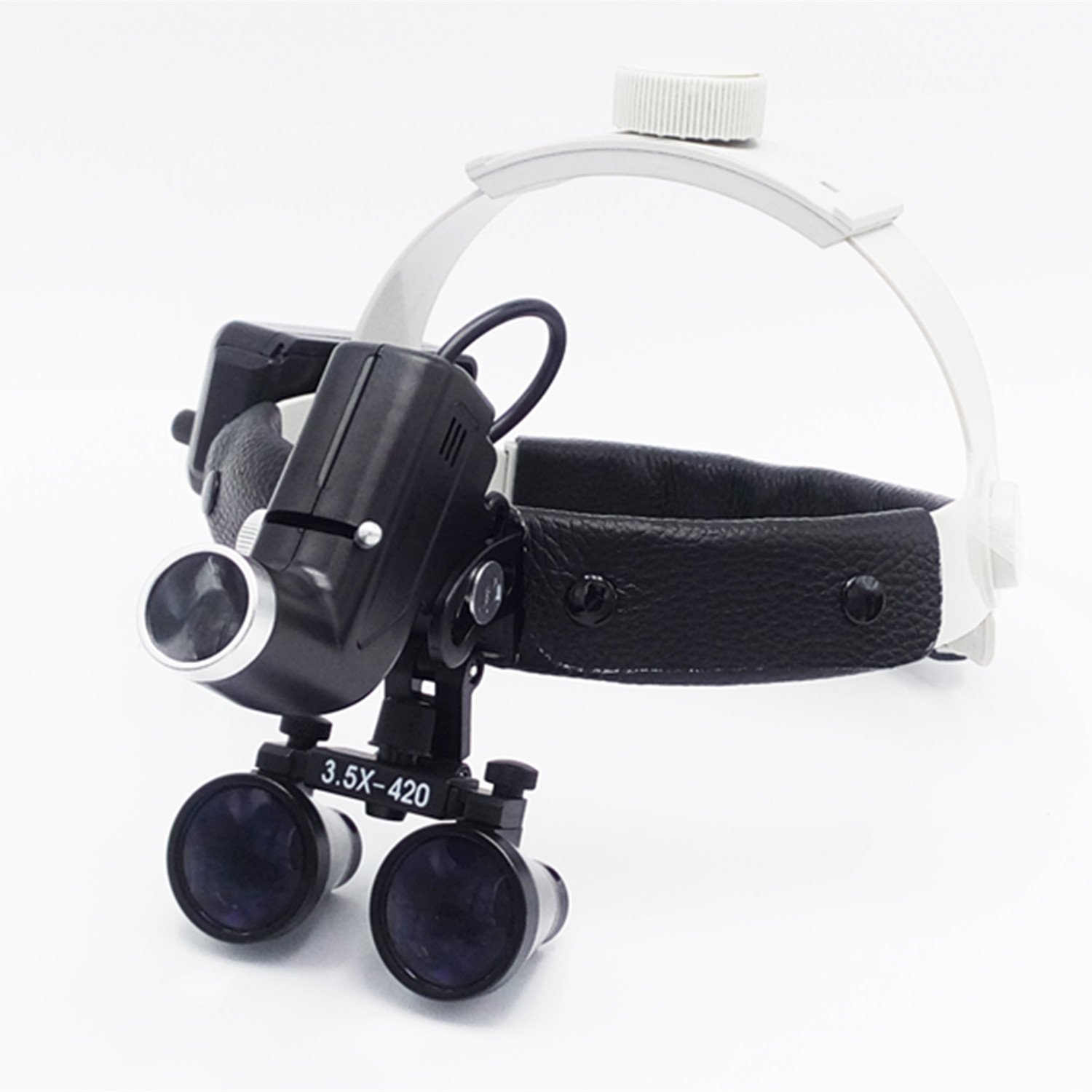 3.5X420mm Working Distance Headband Loupe With light Special Use For E.N.T Department DY-106(black) by Pwhite