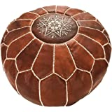 Moroccan Pouffe - Genuine Goatskin leather - Bohemian Living Room Decor - Hassock & Ottoman Footstool - Round & Large Ottoman Pouffe - Unstuffed - Includes Stuffing Instructions