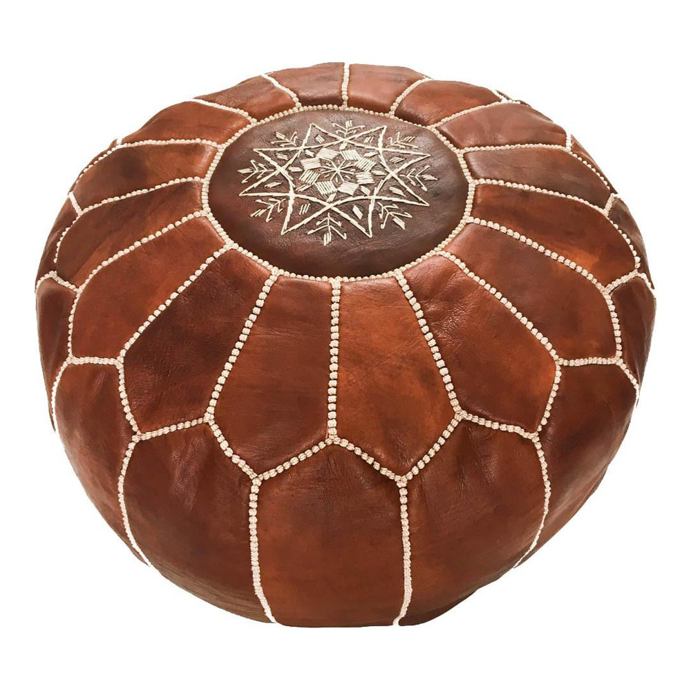 Marrakesh Gallery Moroccan Pouf - Genuine Goatskin leather - Bohemian Living Room Decor - Hassock & Ottoman Footstool - Round & Large Ottoman Pouf - Unstuffed - Includes Stuffing Instructions by Marrakesh Gallery