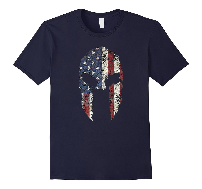 American Spartan Warrior Helmet Patriotic Flag T-Shirt-Teeae