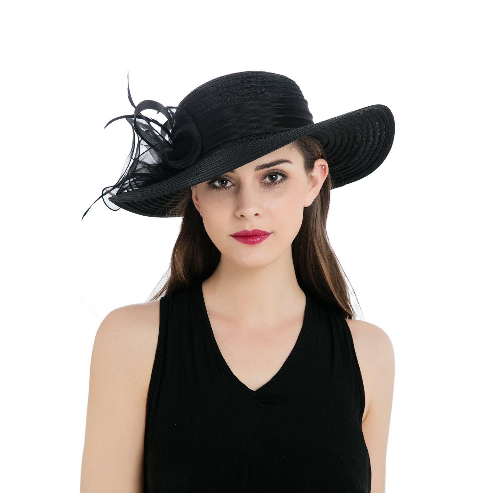 Dantiya Womens Organza Wide Brim Floral Feather Ribbon Kentucky Derby Church Dress Sun Hat, Black Free