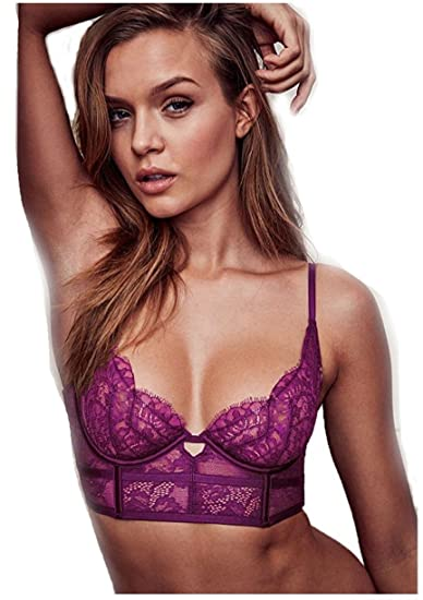 39013aadf257a Amazon.com  Victoria s Secret Purple Unlined Lace Mini Bustier  Clothing