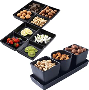 Bruntmor 6 Piece Serving Tray Bundle Set- 4 Piece Ceramic Tray with 3 Compartment Serving Bowl Dishes and 4 -Compartment Serving Platter Tray Set of 2 For Dips & Snacks (Black)