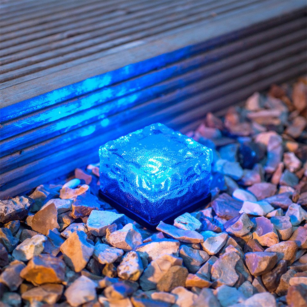 TechCode Solar Lights Outdoor, Solar Powered Outdoor LED Lights Waterproof Ground Crystal Glass Ice Brick Garden Lighting Landscape Security Lamp for Lawn Yard Deck Road Path Garden Decoration(Blue)