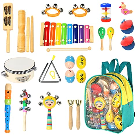 Amazon Com Toddler Musical Instruments Ehome 15 Types 22pcs Wooden