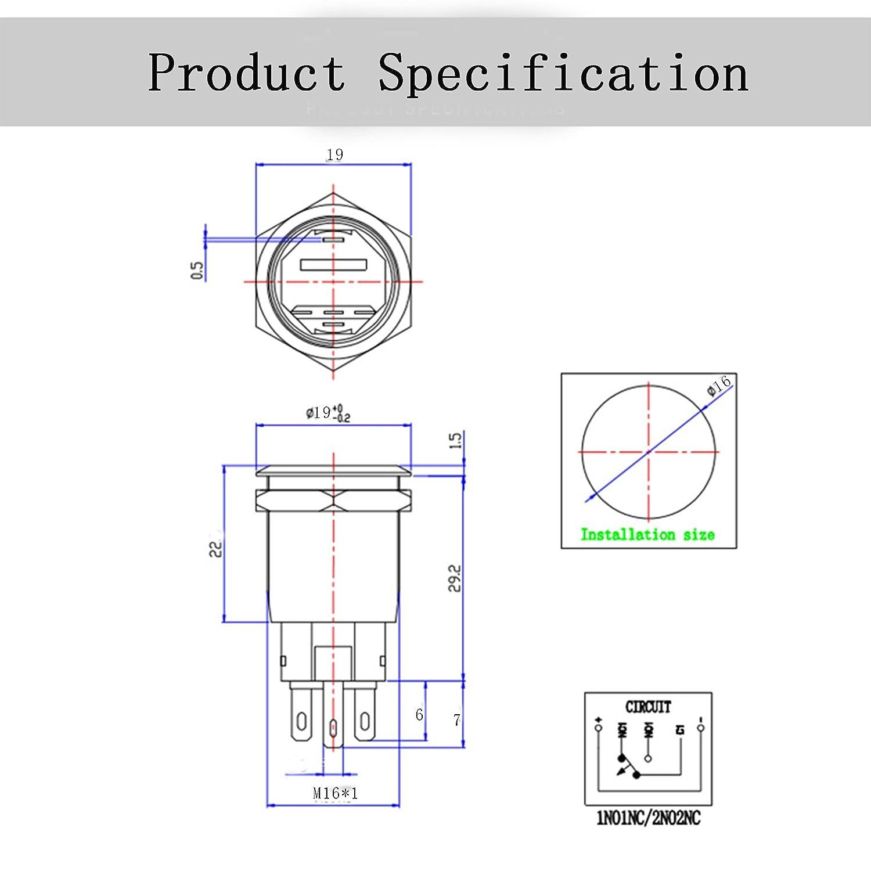 HALJIA 16mm Blue Ring Led Metal Momentary Push Button Switch Car DIY Reset Switch Black DC12V Waterproof
