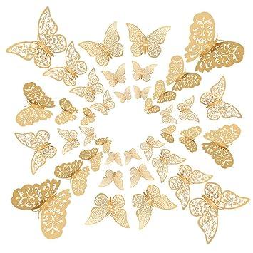 Beautymei 72 Pieces 3D Butterfly Wall Decals Sticker Gold Wall Decal Decor  Art Sticker Set 3