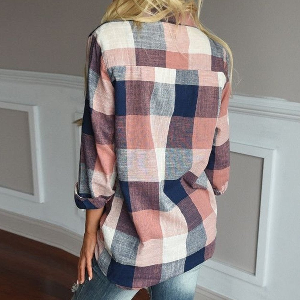 Women Casual Long Sleeve Tunic Shirts Colorful Plaid Button Loose T-Shirt Blouse Cardigan Tops by LUCA (Image #2)