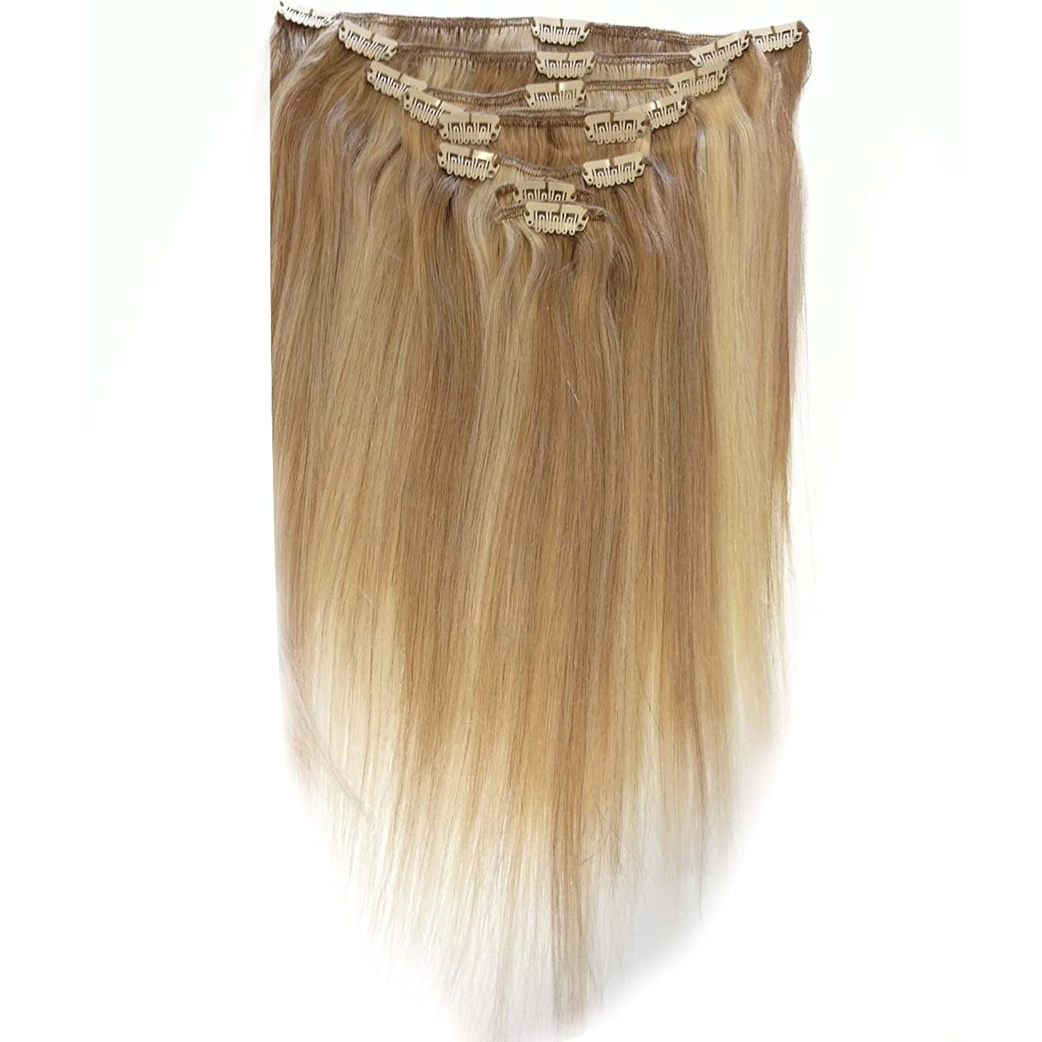 24 Inch Mixed Blonde 1822 Full Head Clip In Human Hair
