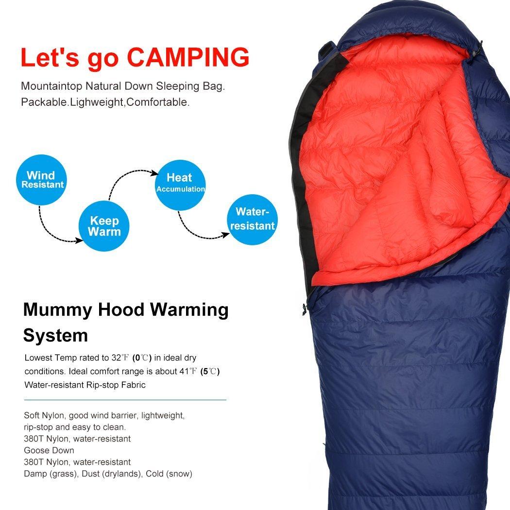 Mountaintop Sleeping Bag Lightweight Envelope Shape Waterproof Comfort With Zipper For 4 Season Camping Hiking Trekking Amazoncouk Sports Outdoors
