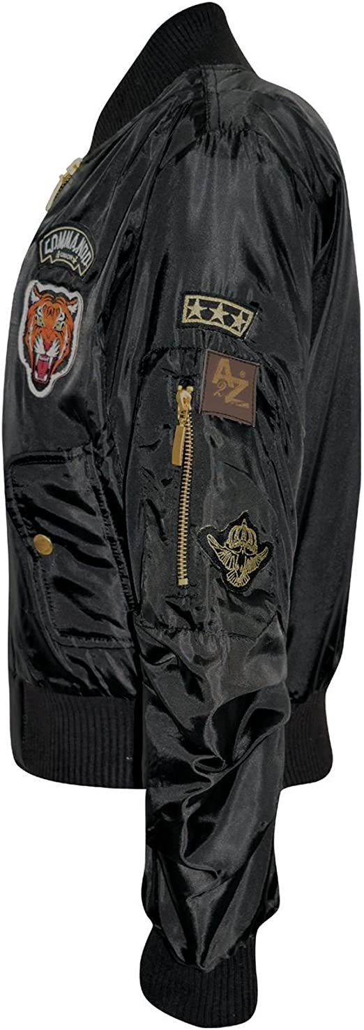 Girls US Army Tiger Badge Bomber Style Zipper Combat Jacket 3 to 14 Years