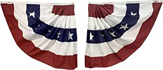 product image for Gettysburg Flag Works 3x3' Patriotic Red White Blue Pleated Half Fans (Pair), All-Weather Nylon with Stripes, Decorative Bunting, for Outdoor Decoration Use, Made in USA