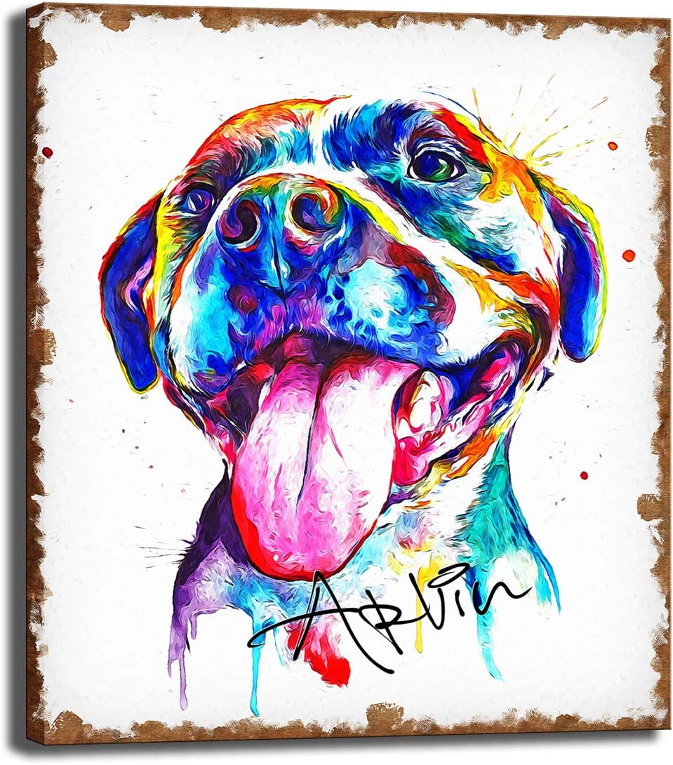 CNUSER Decor- Pet Bull Dog Canvas Print,Paintings Picture on Canvas Modern Animal Wall Art for Home Living Room and Office Decorations (24x28inch NO Framed)