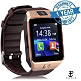 Padraig Compitable with Vivo 4G mobiles DZ09 Gold Bluetooth Smart Wrist Watch Phone with Camera & SIM Card Support