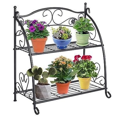 DOEWORKS 2 Tier Metal Plant Stand Storage Rack Shelf Pot Holder for Indoor Outdoor Use, Black : Garden & Outdoor