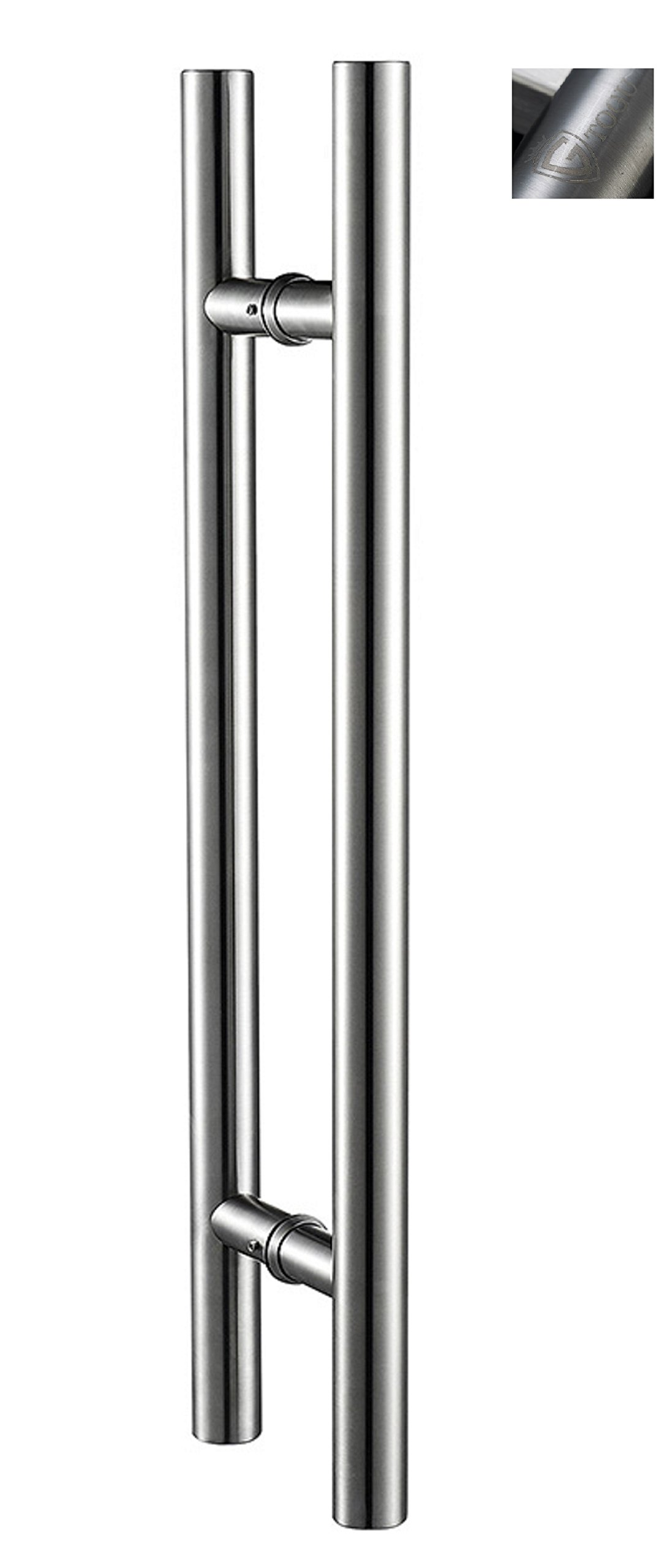 TOGU TG-6012 71 inches Solid Standoffs Heavy-duty Commercial Grade-304 Stainless Steel Push Pull Door Handle/Barn Door Pull Handle/ Glass Pulls , Full Brushed Stainless Steel Finish