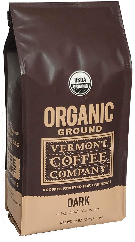 Vermont Coffee Company®, Dark Roast, Ground Arabica Coffee, Organic, Non-GMO, 12oz. Bag