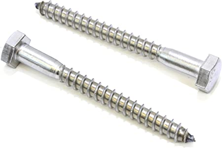 """1//4 x 4-1//2/"""" Lag Bolts Hex Head Stainless Steel Heavy Duty Wood Screws Qty 5"""