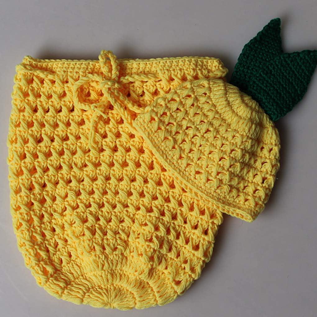 Bomcomi Entz/ückende Ananas-Baby-handgemachter H/äkelarbeit gestrickte Fotosession Outfits Schlafs/äcke Hat Set