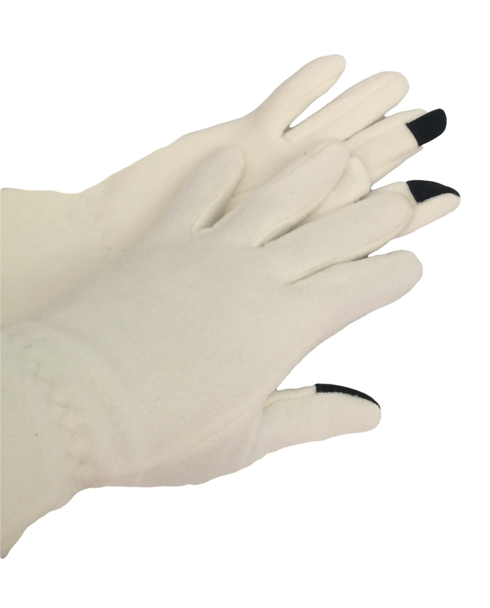 Touch Screen Compatible Women's Fleece Smart Phone Texting Gloves (Off-white)