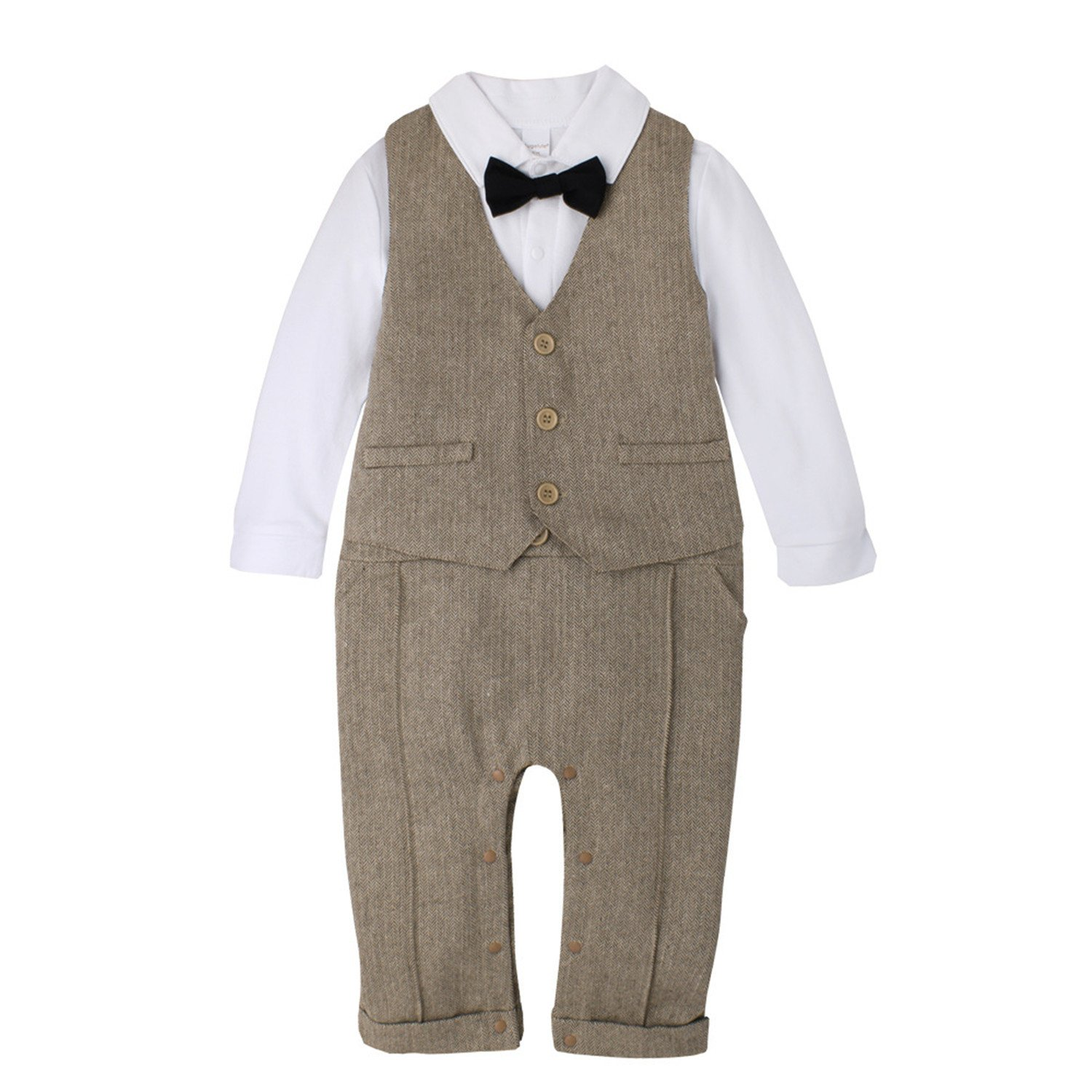 f3d4b5e5a Dec Baby Boy Gentleman Bodysuit Bowtie Romper Outfit Suit with hat ...