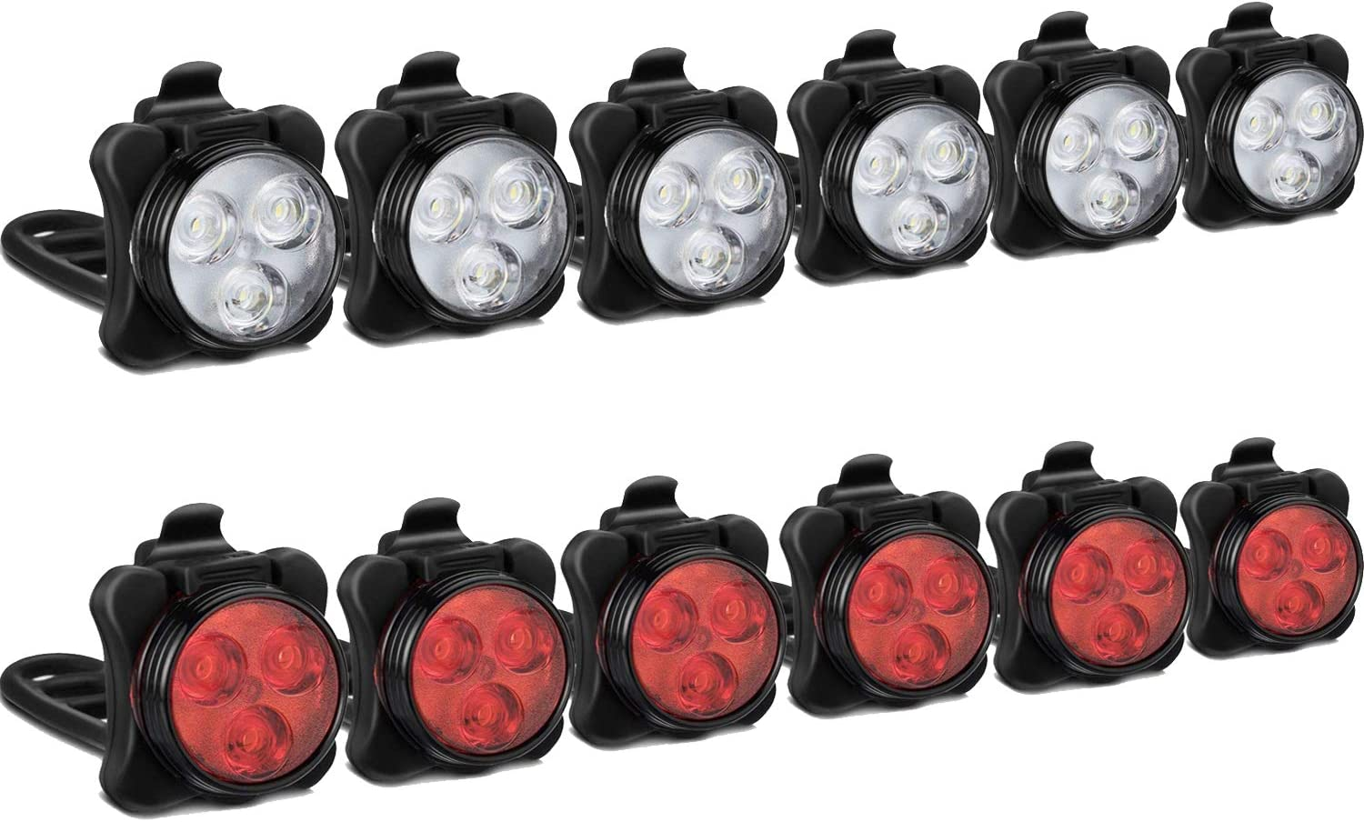 Akale Rechargeable Bike Light Set, LED Bicycle Lights Front and Rear, 4 Light Mode Options, 650mah Lithium Battery, Bike Headlight, IPX4 Waterproof, Easy to Install for Kids Men Women Road 6 Pack