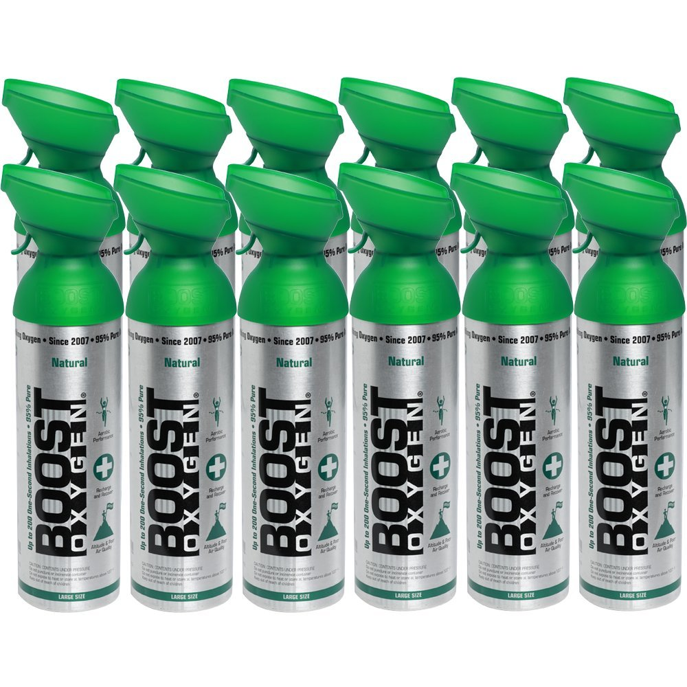 95% Pure Oxygen by Boost Oxygen - Portable Canister of Supplemental Oxygen - Increases Endurance, Recovery and Performance - 10 Liter Canisters - 12 Pack (Natural)