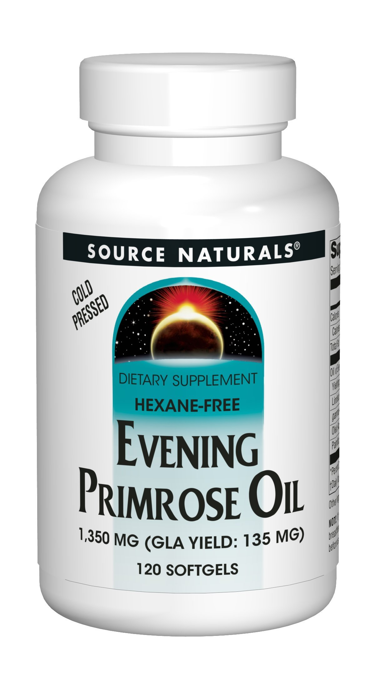 Source Naturals Evening Primrose Oil 1350mg (135mg GLA) Cold-Pressed, Hexane-Free Fatty-Acid Gamma-Linolenic & Linoleic Acid - 120 Softgels
