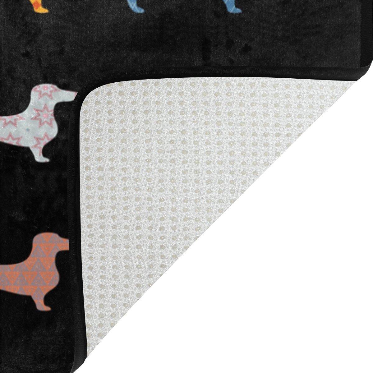 Use7/Noir Teckel Chiot Paillasson dentr/ée int/érieur ext/érieur Tapis de Sol de Salle de Bain 60/x 40/cm
