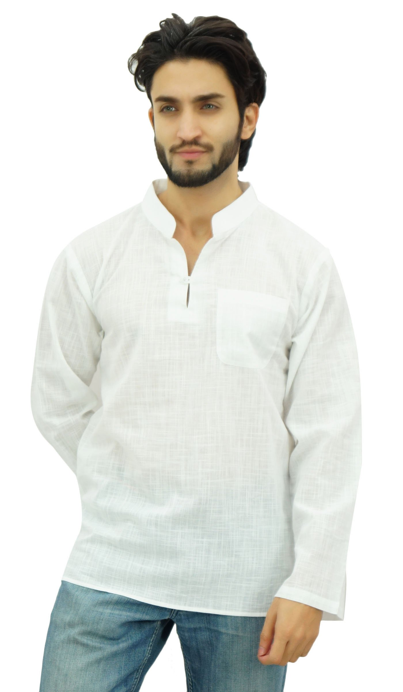 Atasi Men's Band Collar Short Kurta White Cotton Casual Tunic Shirt-Large by Atasi (Image #1)
