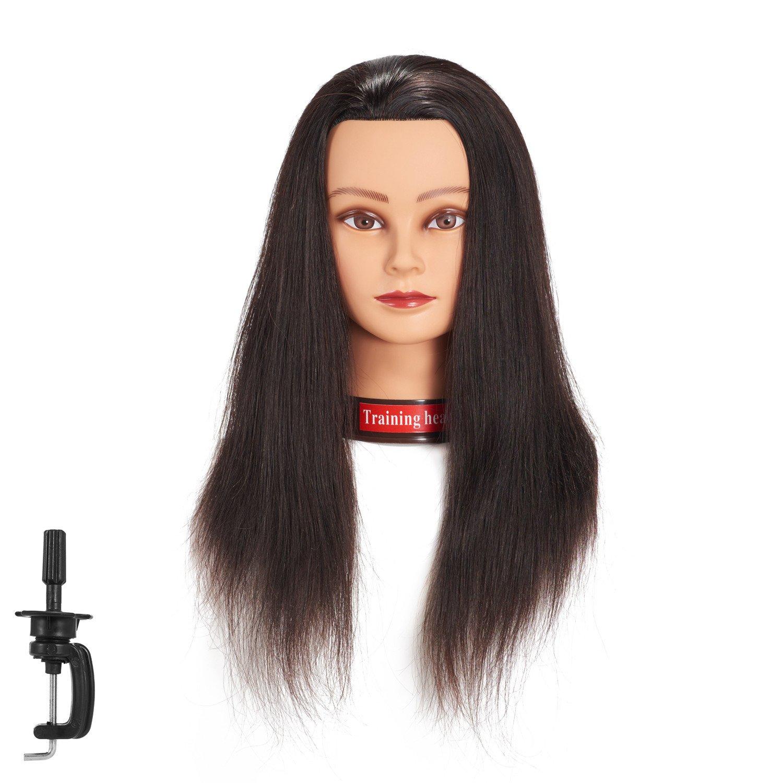 20-22 100% Human hair Mannequin head Training Head Cosmetology Manikin Head Doll Head with free Clamp (6RA1711W2716H)