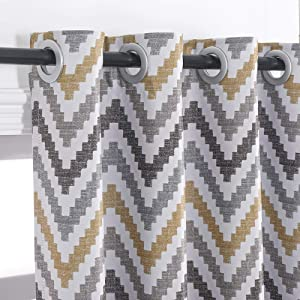 Autumn Dream Chevron Bohemian Grommet Top Blackout Curtain Drape for Living Room (52 by84, Yellow),1 Panel
