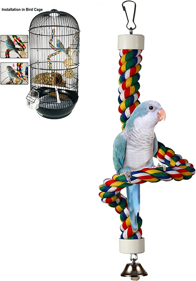 Small Ring cotton Rope Bird Cage Hammock Swing Hanging Toy for Parrots Balancing Hanging Standing Bird Toys Hanging Ring Parrot Swing Toy Set Triangle Shape Parrot Cage Toys Kit Metal